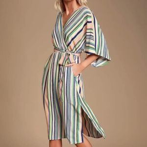 Lulu's Multi Stripe Midi Dress NWT